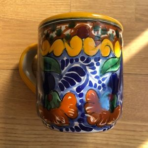 Beautiful patterned mug with yellow accents